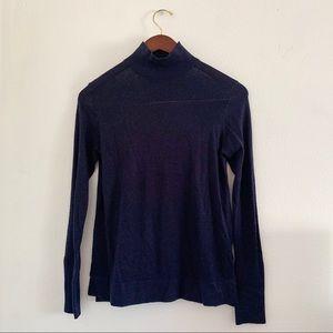 Zara Navy Knit Mock Neck Turtleneck Light Sweater